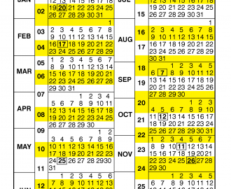 Pay Period Calendar 2020 by Calendar Year