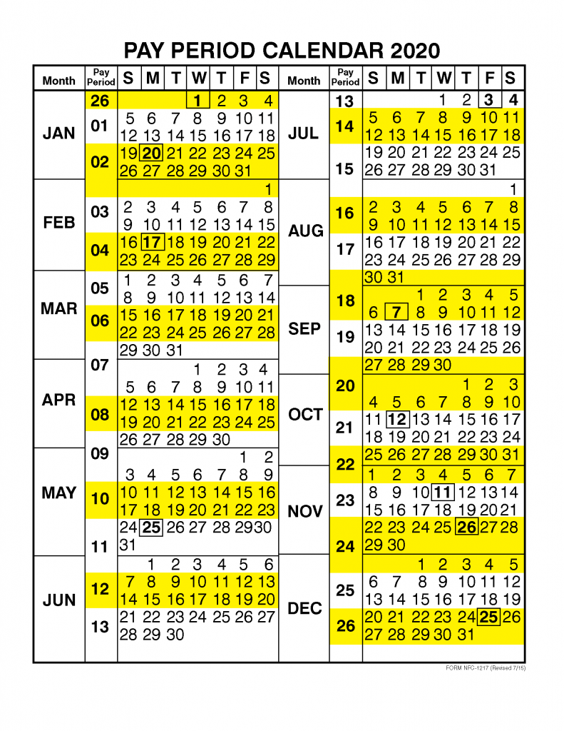 Pay Period Calendar 2019 baPay Period Calendar 2020 by Calendar Yeary Calendar Year