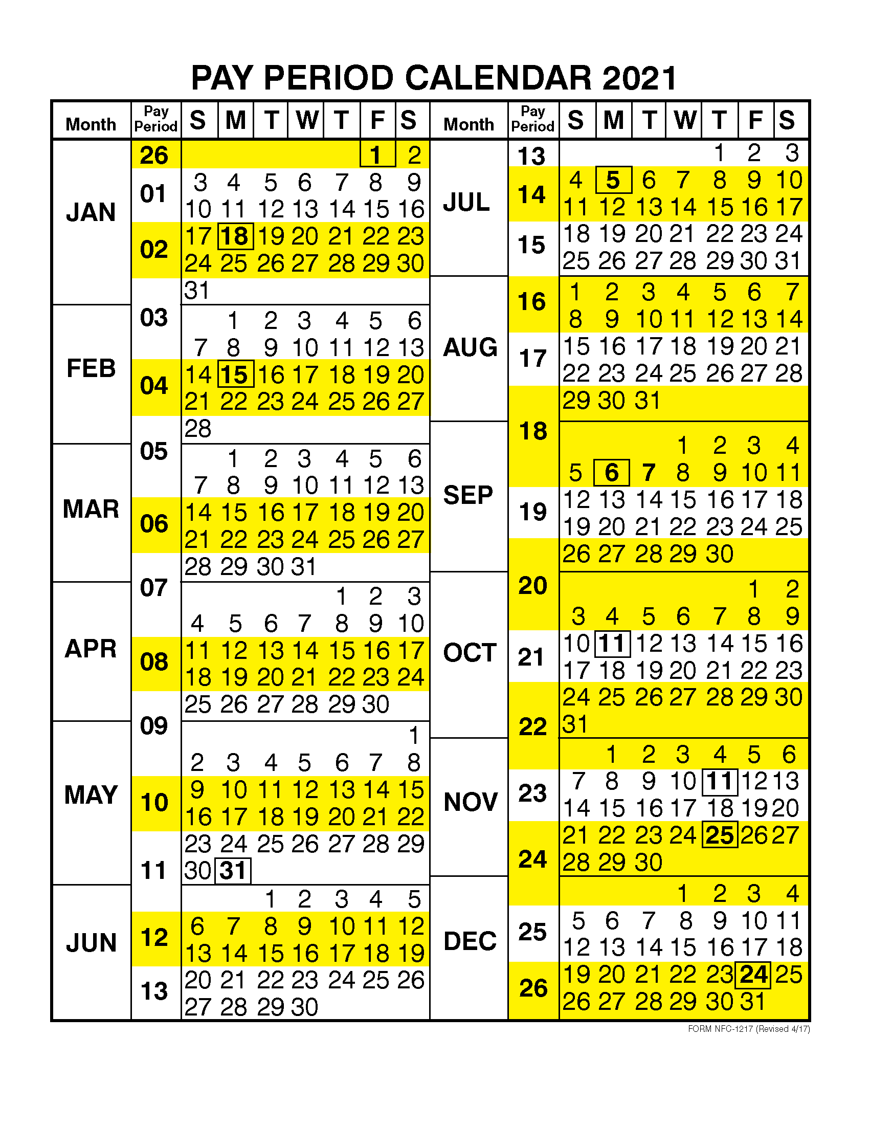 Payday Calendar 2021 Pay Period Calendar 2021 by Calendar Year – Free Printable 2020