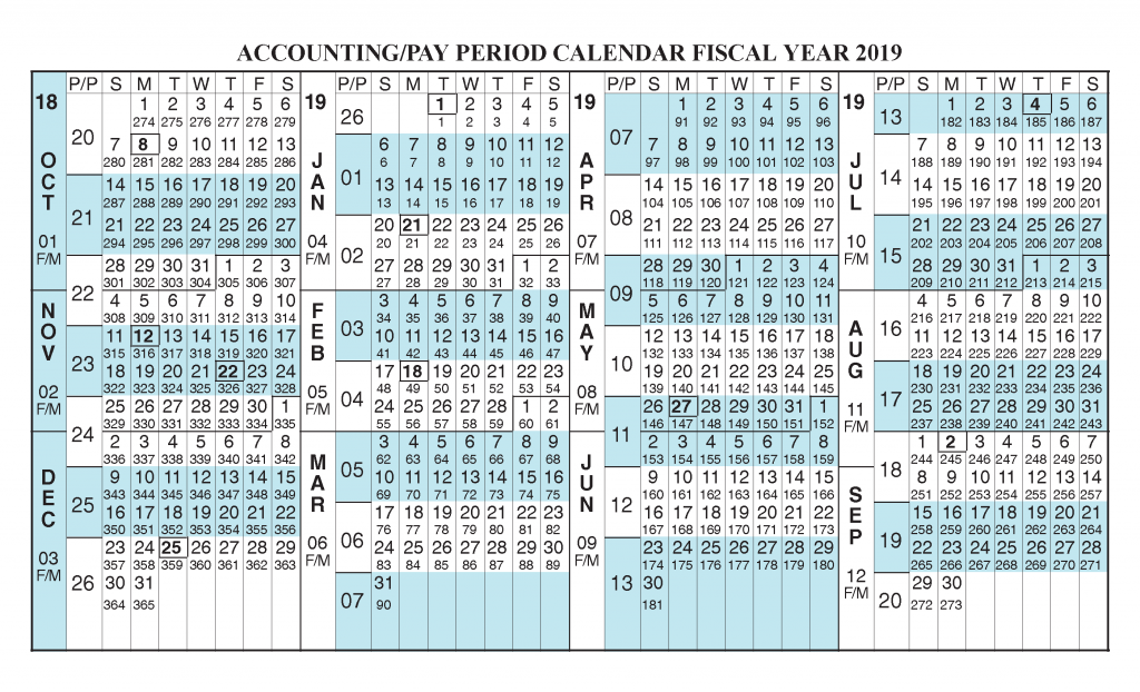 Payroll Calendar 2019 Fiscal Year Calendar Oct 2018 Sep 2019