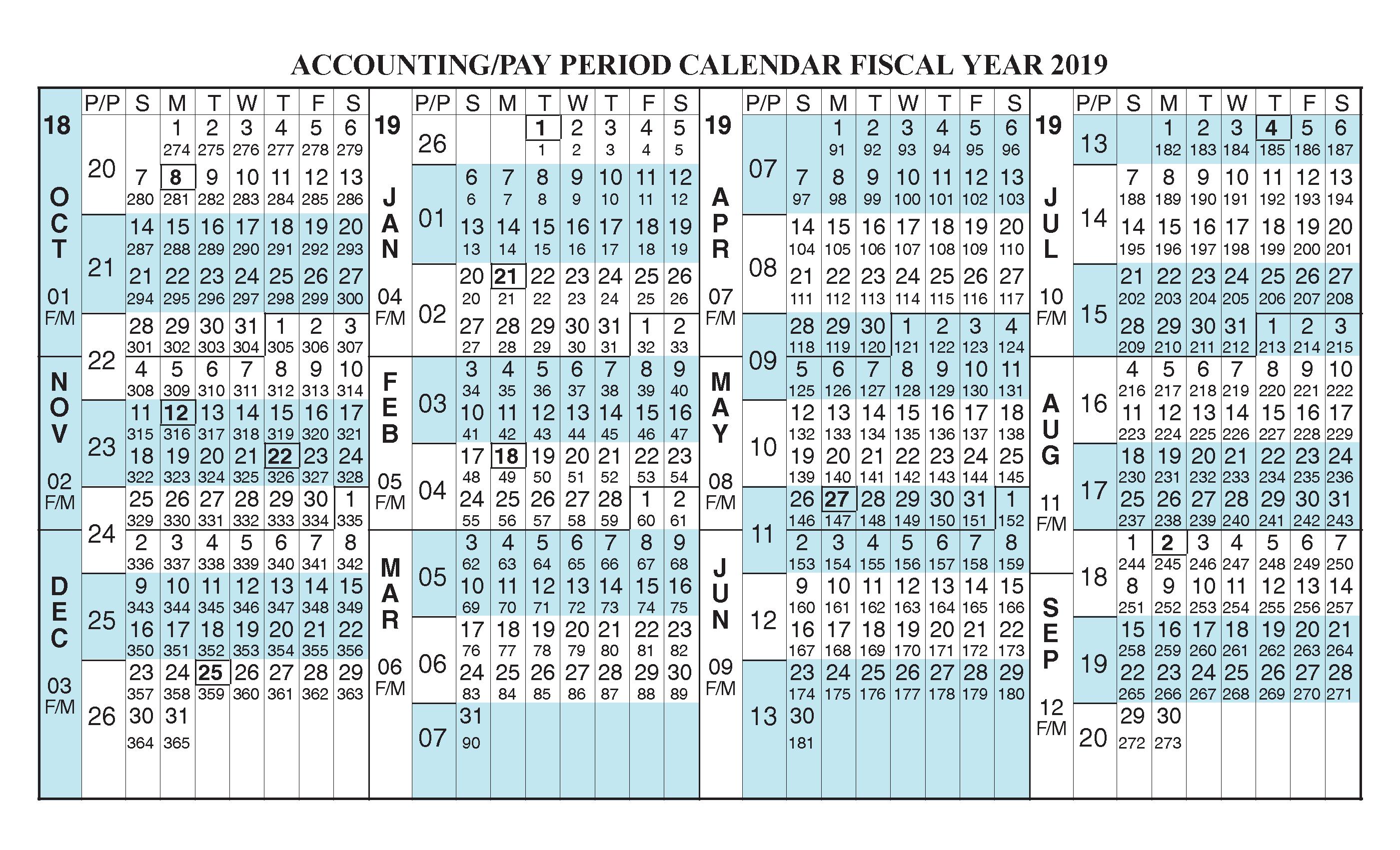 Federal Fiscal Year 2019 Calendar Payroll Calendar 2019 Fiscal Year Calendar [ Oct 2018   Sep 2019