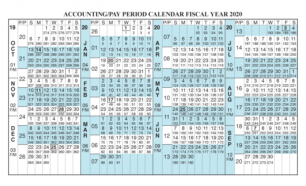 Payroll Calendar 2020 - Fiscal Year 2020 Calendar from October 2019 to September 2020