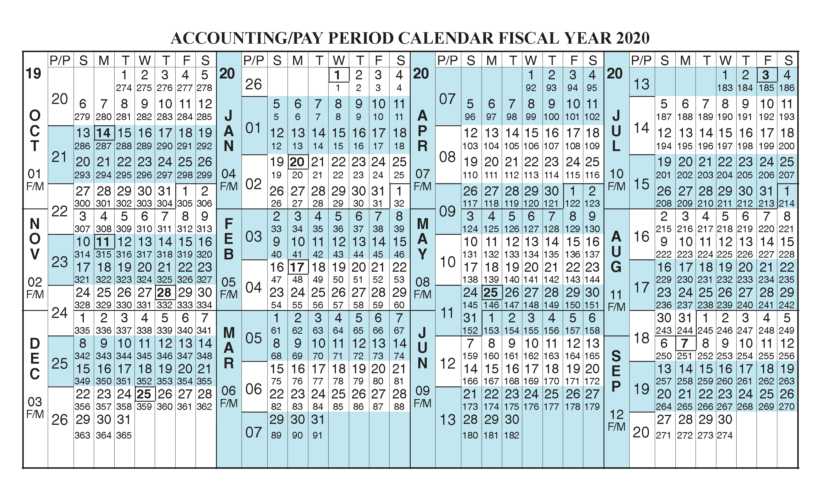 Weekly Pay Period Calendar 2020 Payroll Calendar 2020 Fiscal Year Calendar [ Oct 2019   Sep 2020
