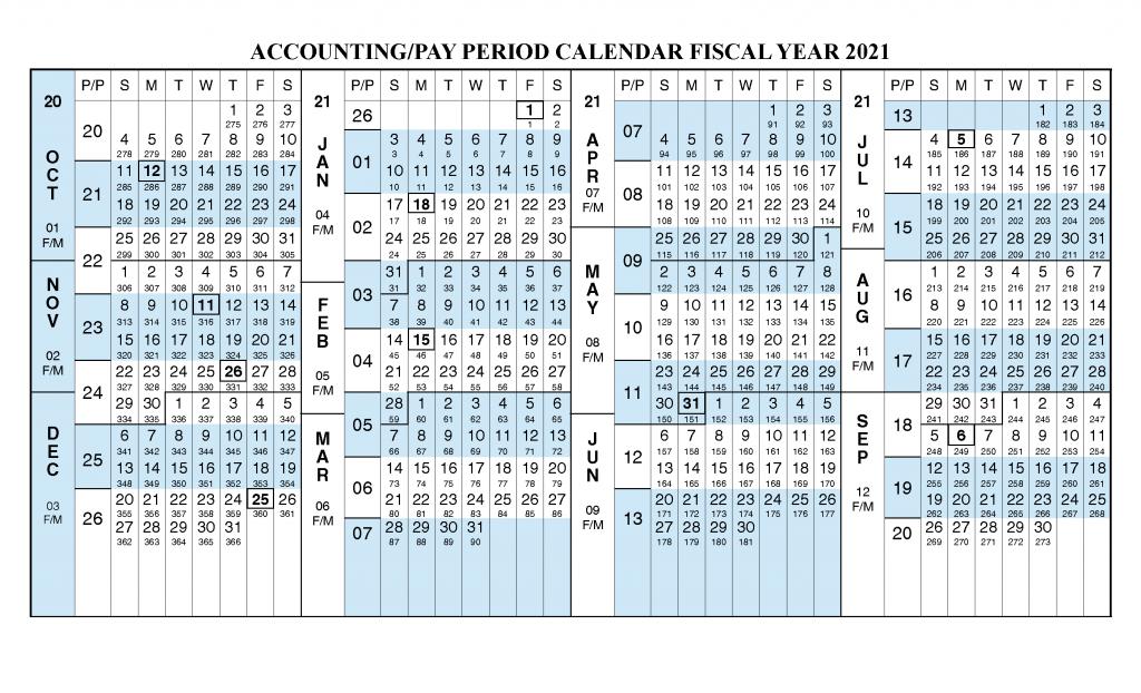 Payroll Calendar 2021 - Fiscal Year 2021 Calendar from October 2020 to September 2021