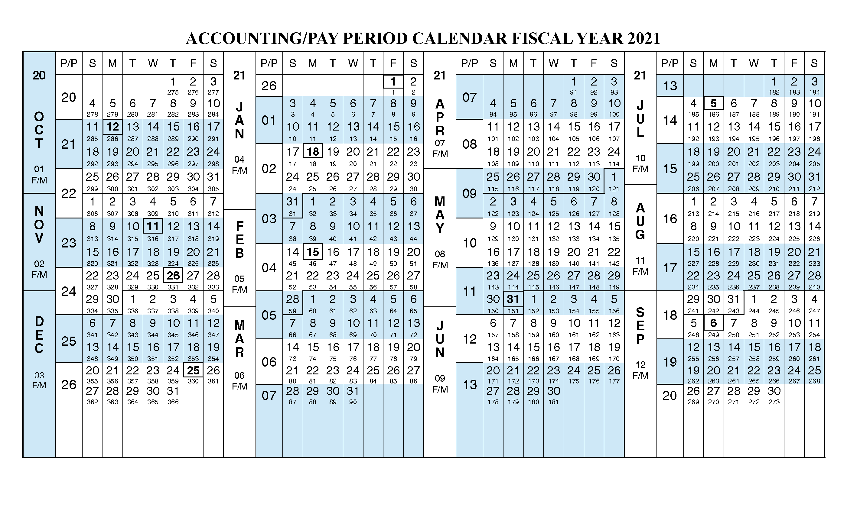 Payroll Calendar 2021 Fiscal Year Calendar Oct 2020 Sep 2021