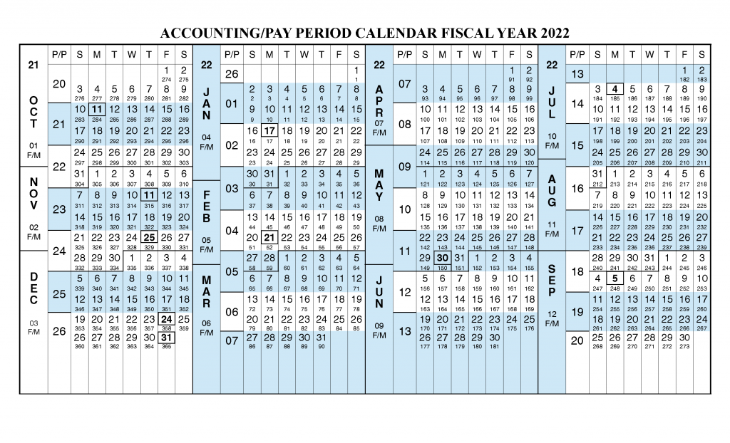 Payroll Calendar 2022 - Fiscal Year 2022 Calendar from October 2021 to September 2022