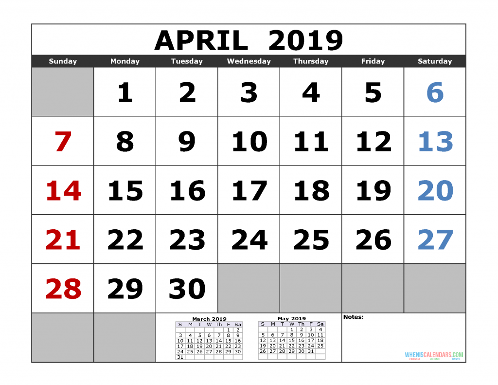 April 2019 Printable Calendar Template (March April May 3 Month Calendar)