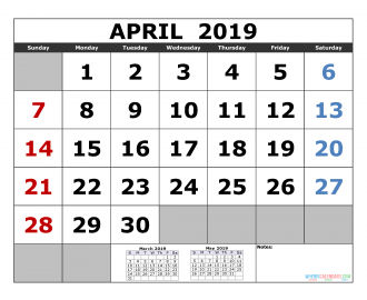april 2019 Printable Calendar Template March April May 2019 3 Month Calendar Template