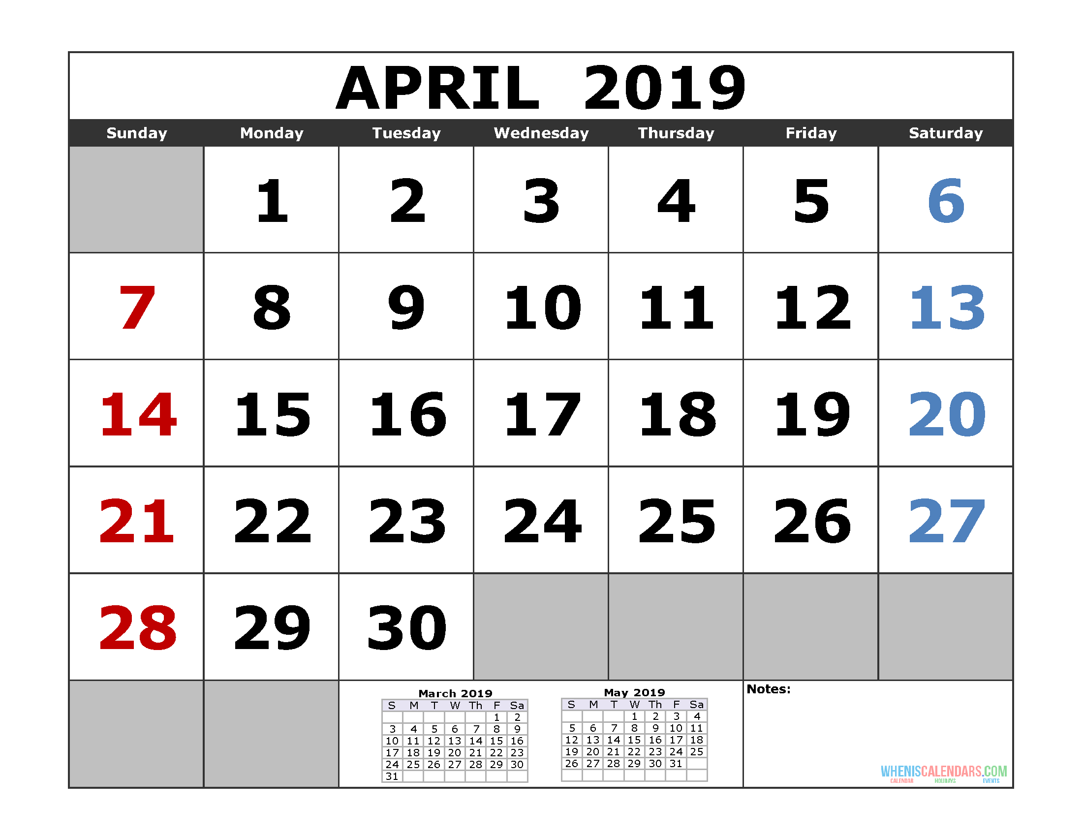 Free April 2019 Printable Calendar Templates Us Edition Free