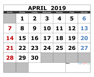 Free april 2019 Printable Calendar Template US. Edition (the first of the week as Sunday)
