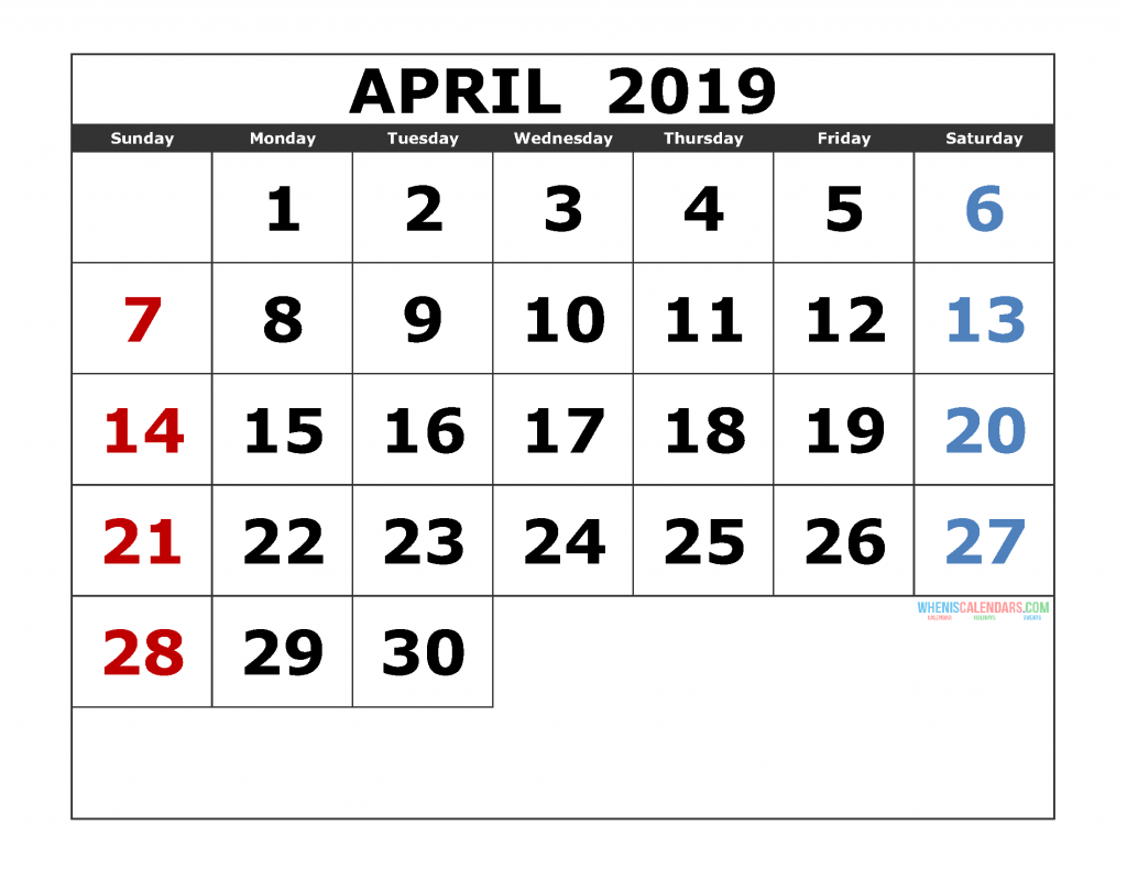 April 2019 Printable Calendar Template Excel, PDF, Image