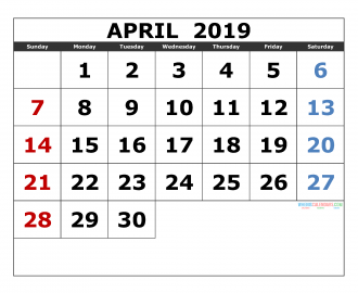 april 2019 Printable Calendar Templates 2019 Monthly Calendar