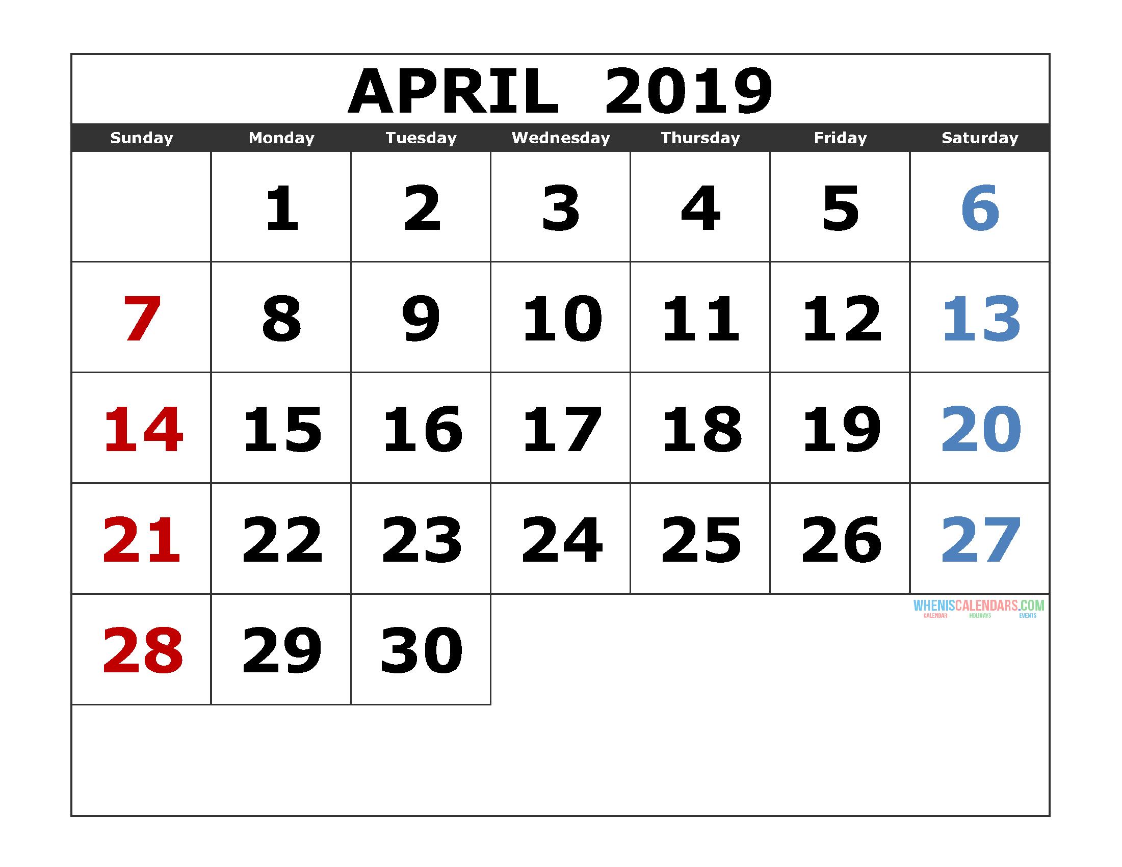 April 2019 Printable Calendar Template Excel, PDF, Image