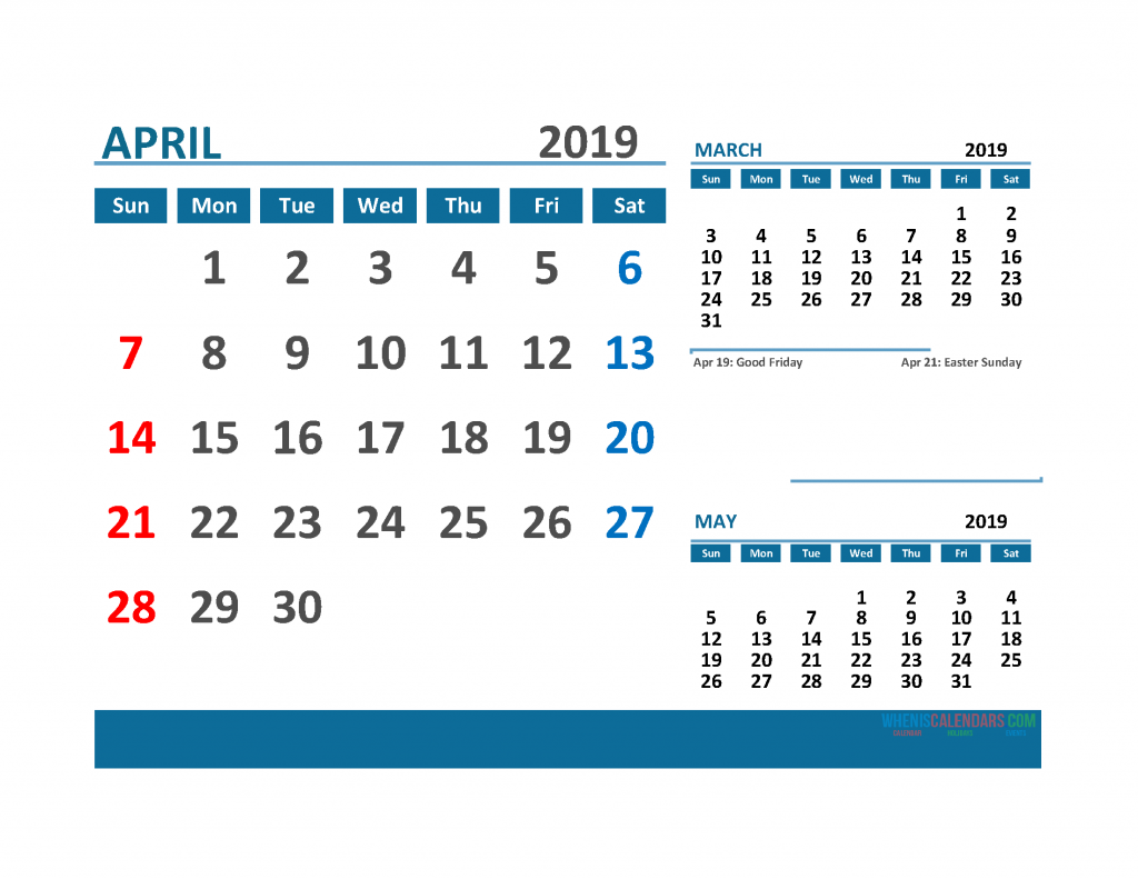 Printable 3 Month Calendar 2019 with Holidays [ March, April, May 2019 Calendar]