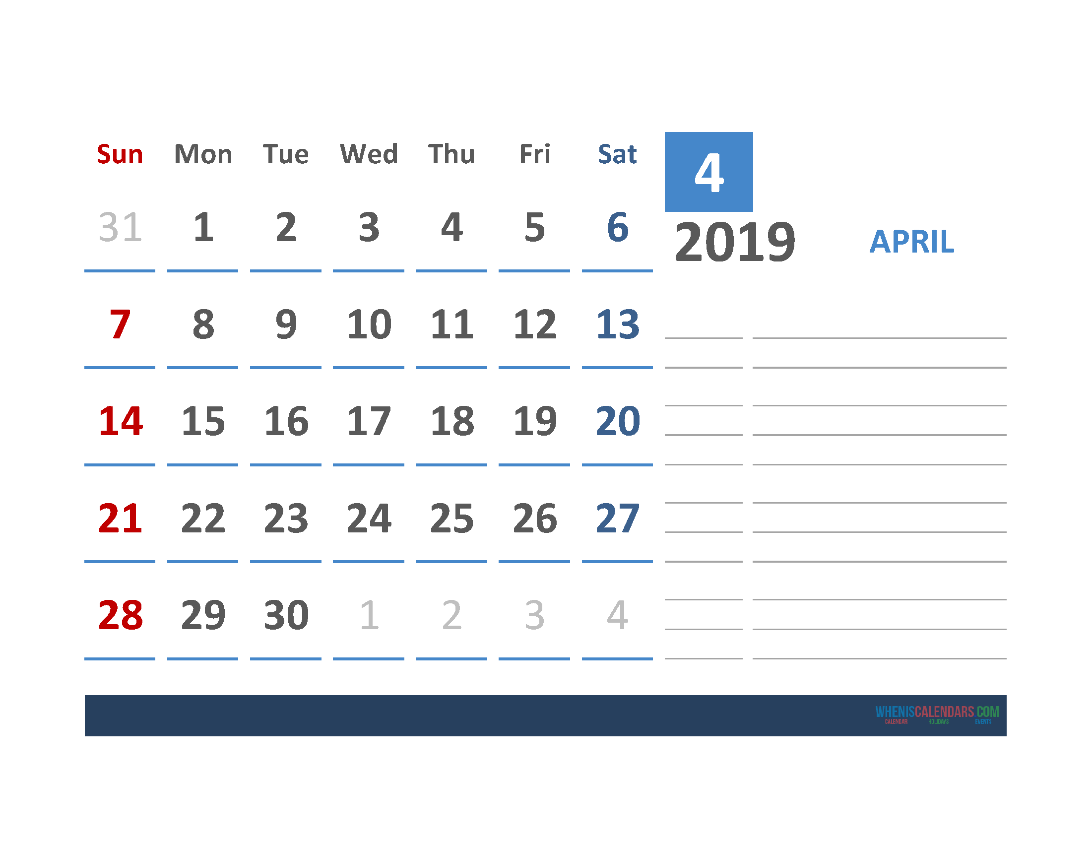 Free April 2019 Calendar Template With Space for Notes