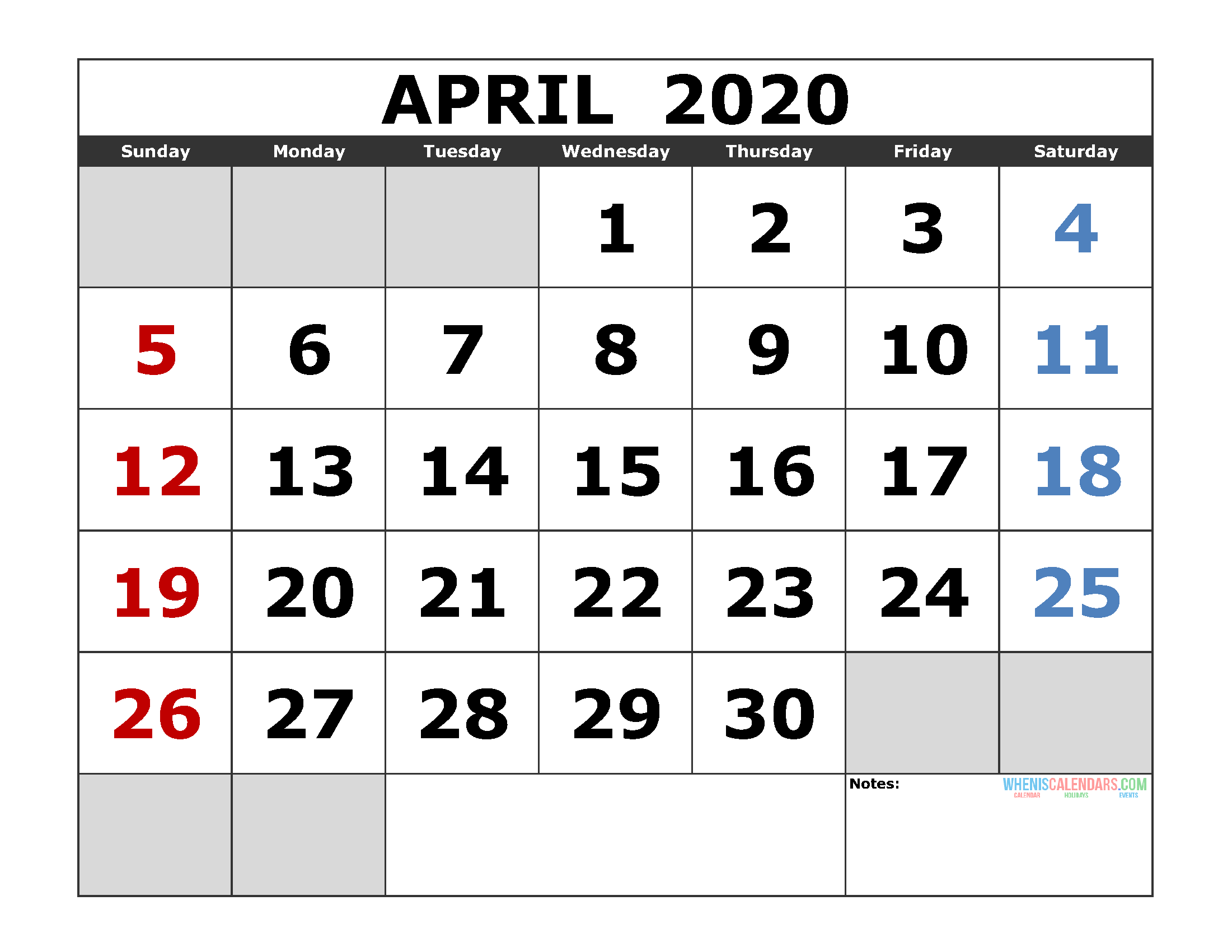 April 2020 Printable Calendar Templates 2020 Monthly Calendar