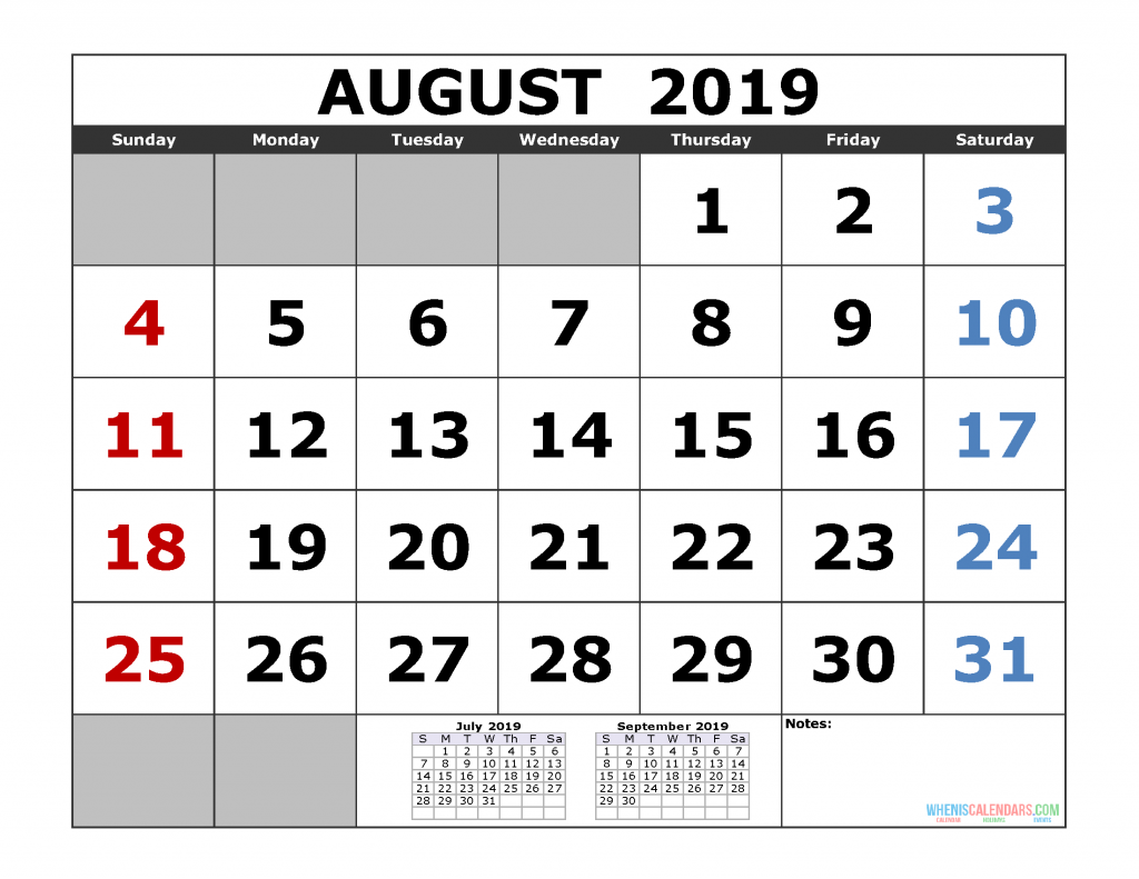 August 2019 Printable Calendar Template (July August September 3 Month Calendar Template)