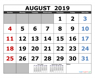 August 2019 Printable Calendar Template July August September 2019 3 Month Calendar Template