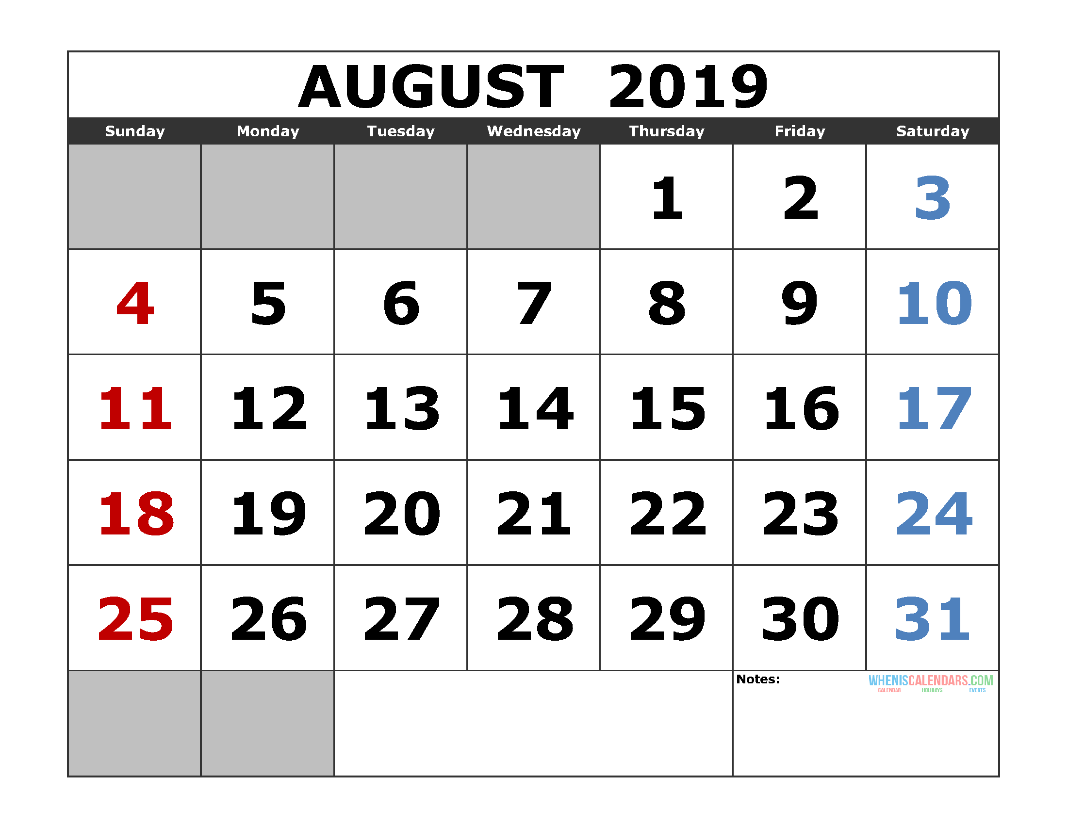 Free August 2019 Printable Calendar Template US. Edition (the first of the week as Sunday)