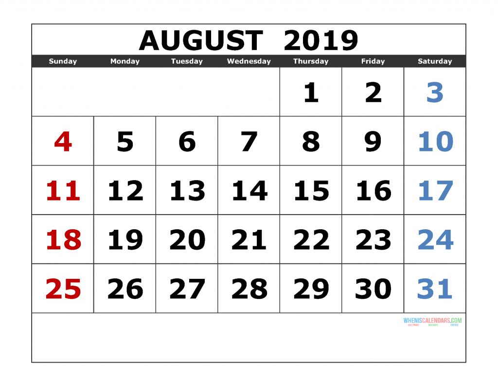 August 2019 Printable Calendar Template Excel, PDF, Image