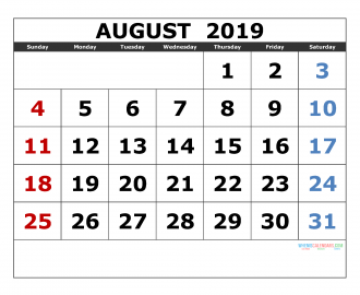 August 2019 Printable Calendar Templates 2019 Monthly Calendar