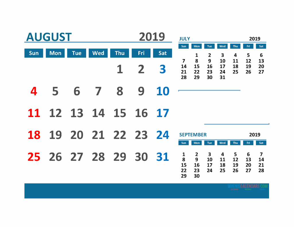 Printable 3 Month Calendar 2019 with Holidays [ July, August, September 2019 Calendar]
