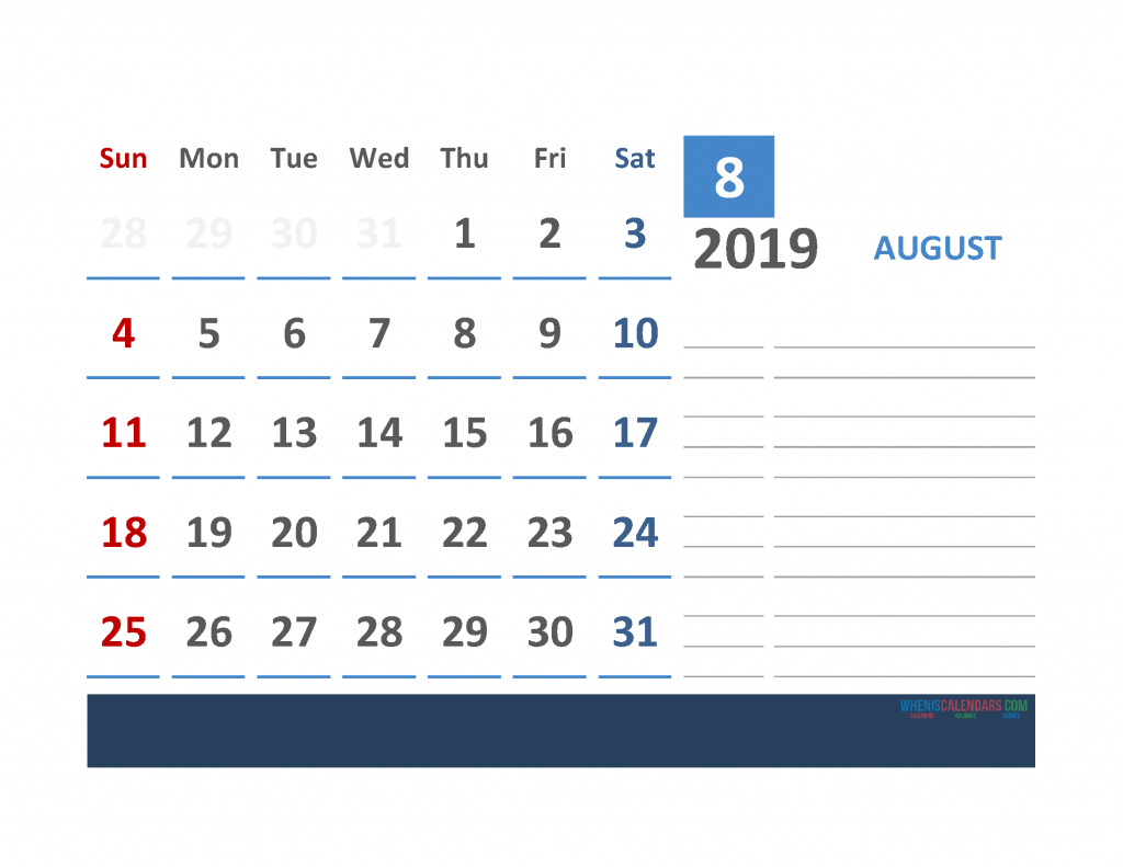 August 2019 Calendar with Holidays Printabe Monthly Calendar PDF, PNG