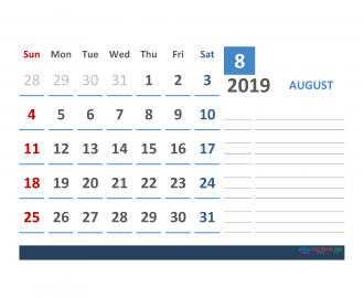 Free august 2019 Calendar Template With Space for Notes
