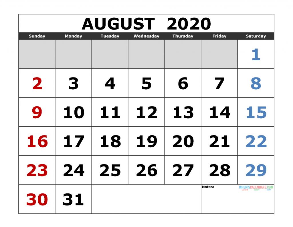 August 2020 Printable Calendar Templates 2020 Monthly Calendar