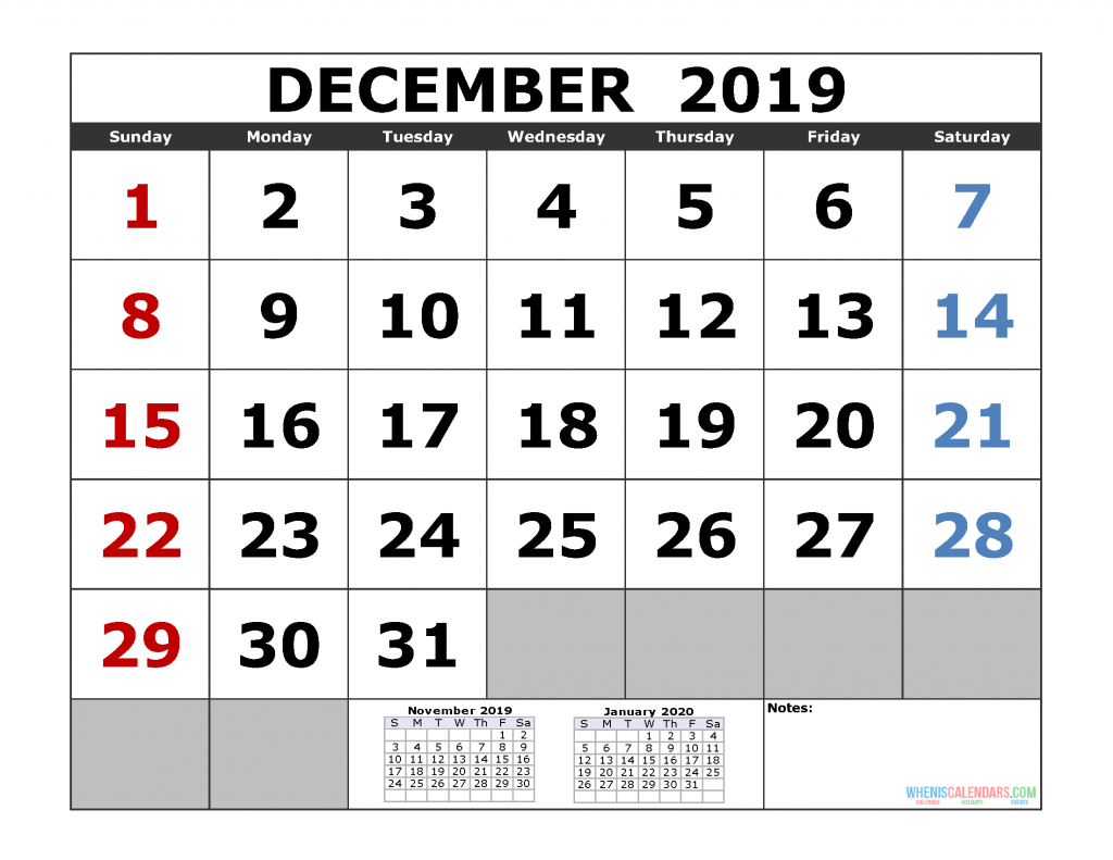 December 2019 Printable Calendar Template (November December 2019 January 2020 3 Month Calendar Template)