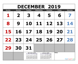 December 2019 Printable Calendar Template November December 2019 January 2020 3 Month Calendar Template