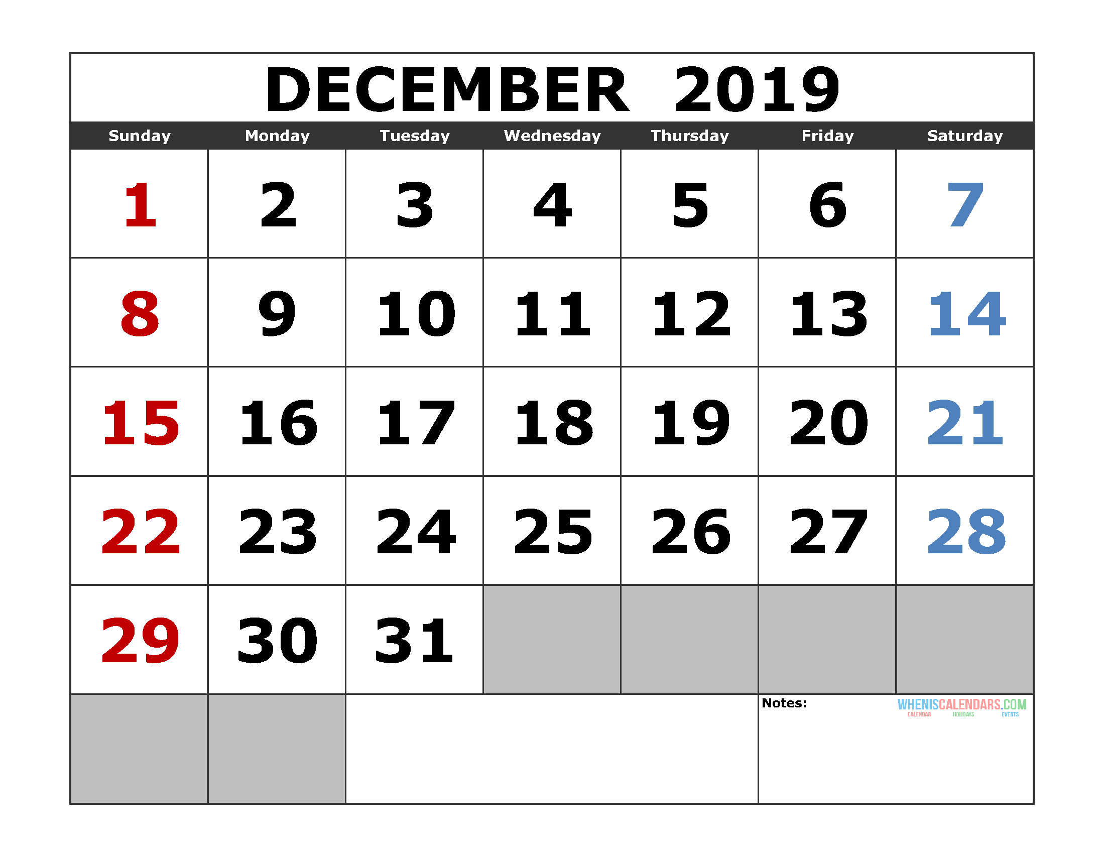 Free December 2019 Printable Calendar Template US. Edition (the first of the week as Sunday)