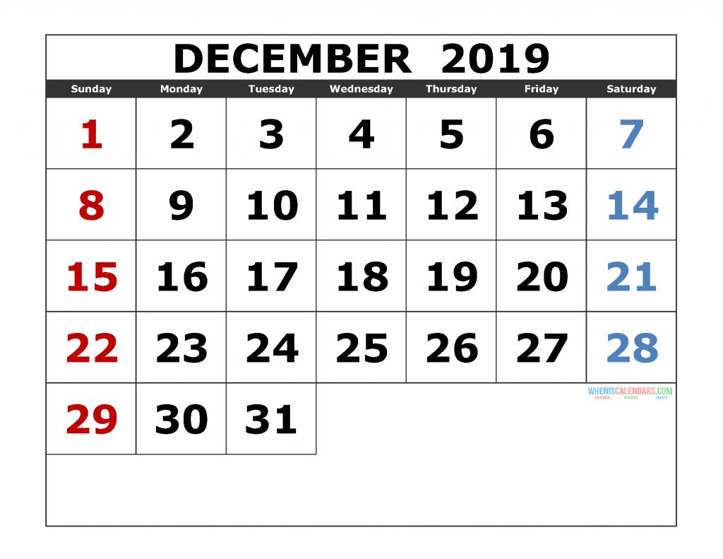 December 2019 Printable Calendar Template Excel, PDF, Image