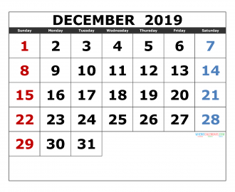 December 2019 Printable Calendar Templates 2019 Monthly Calendar