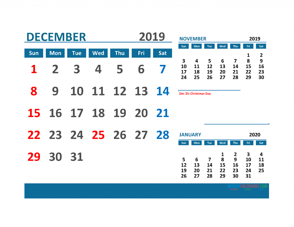 Printable 3 Month Calendar 2019 with Holidays [ November, December 2019, January 2020 Calendar]