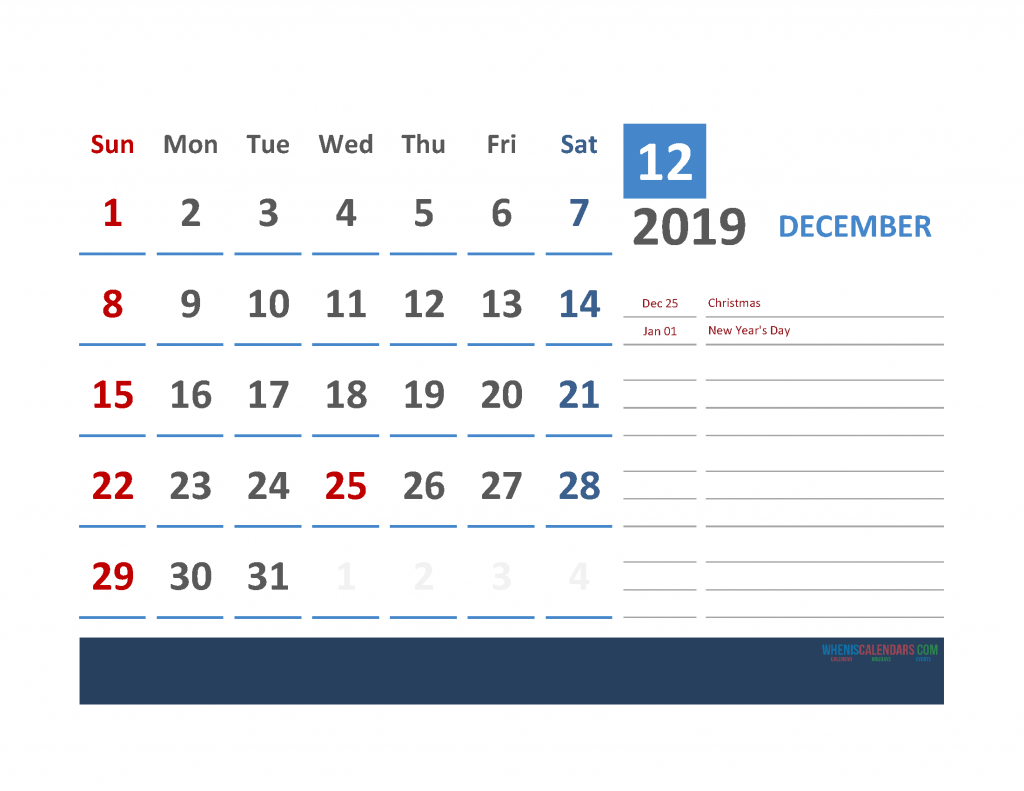 December 2019 Calendar with Holidays Printabe Monthly Calendar PDF, PNG