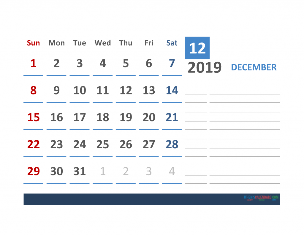 Free December 2019 Calendar Template With Space for Notes