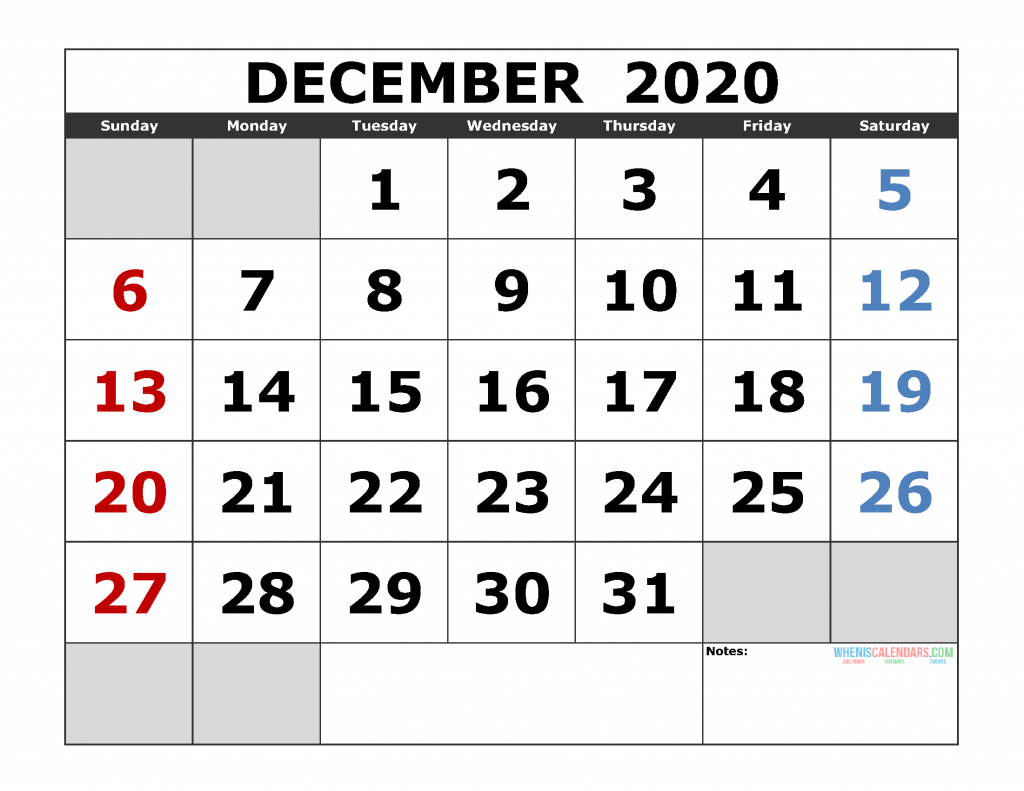 December 2020 Printable Calendar Templates 2020 Monthly Calendar