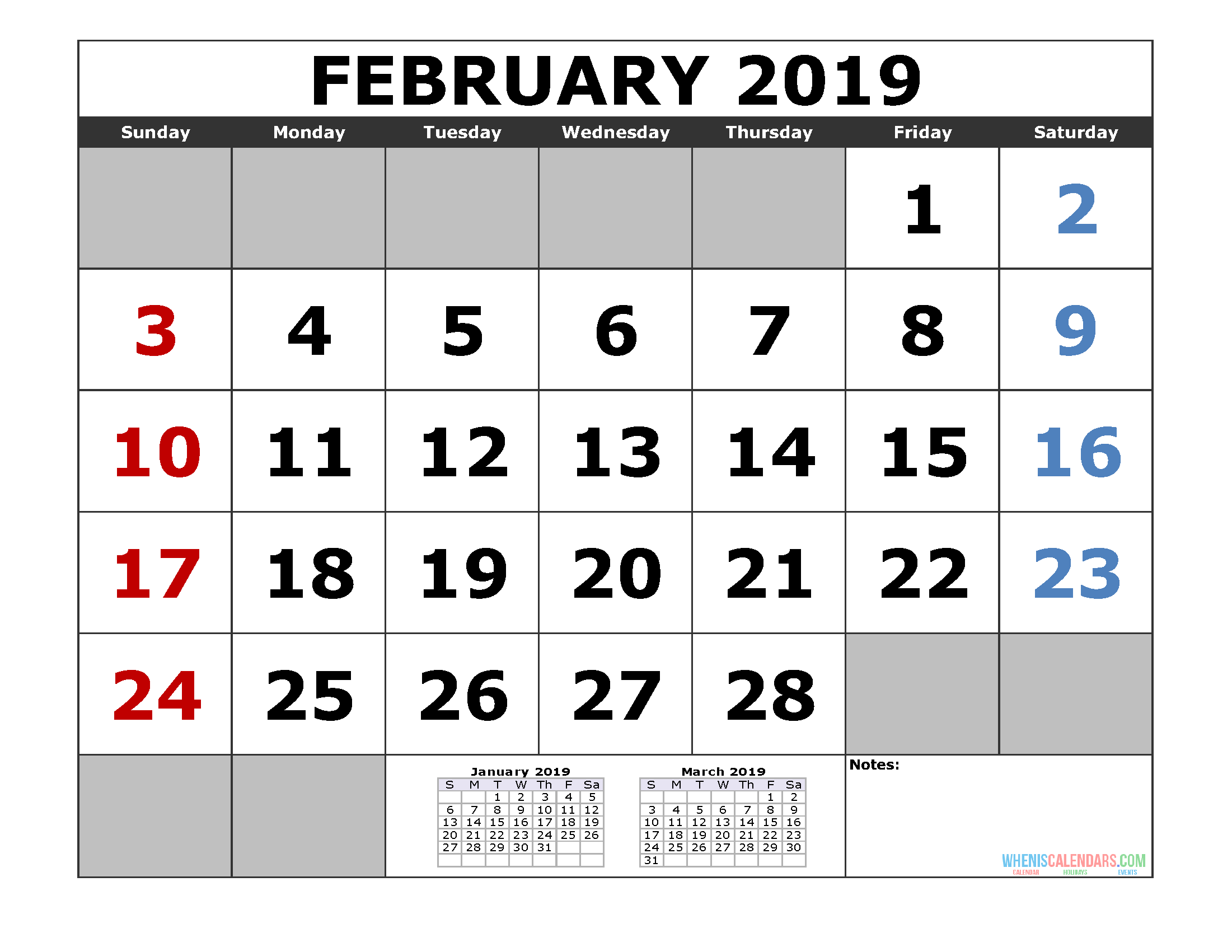 February 2019 Printable Calendar Template (January February March 2019 3 Month Calendar Template)