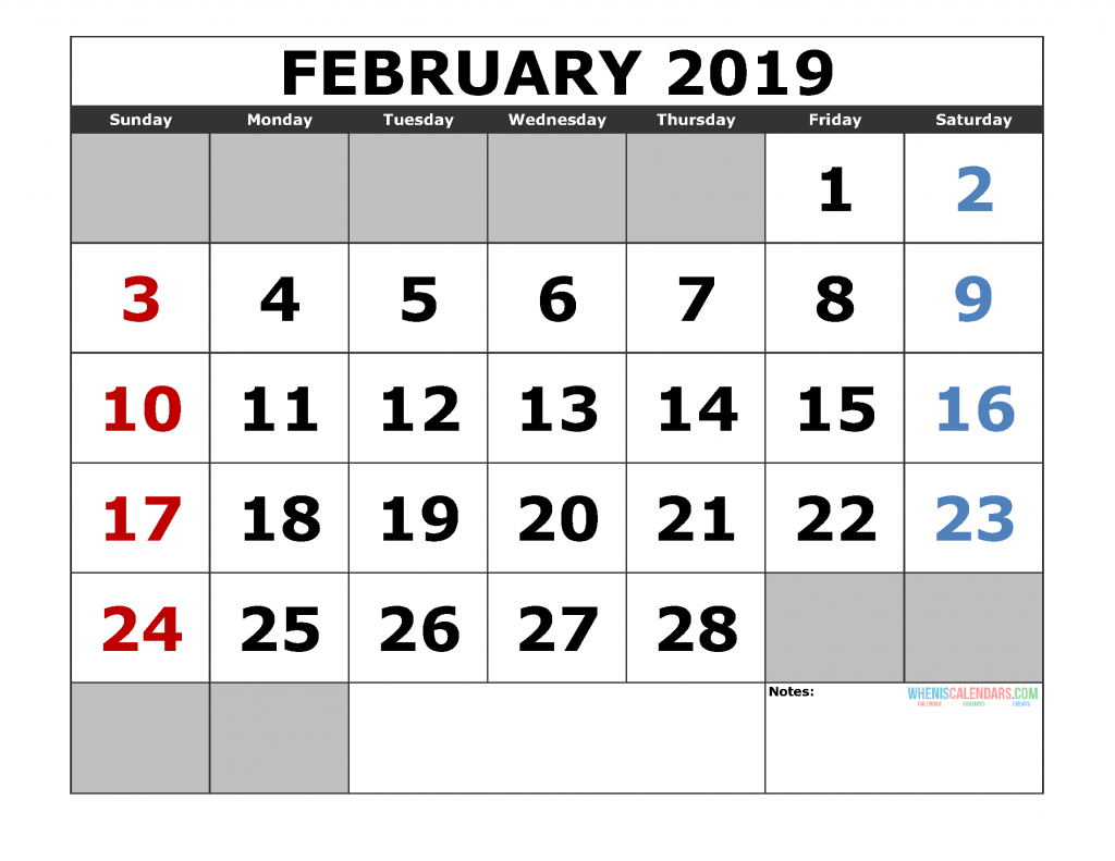 Free February 2019 Printable Calendar Template US. Edition (the first of the week as Sunday)