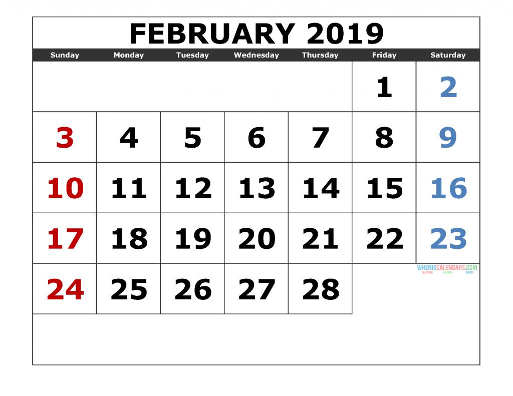 February 2019 Printable Calendar Template Excel, PDF, Image
