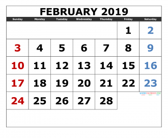 February 2019 Printable Calendar Templates 2019 Monthly Calendar