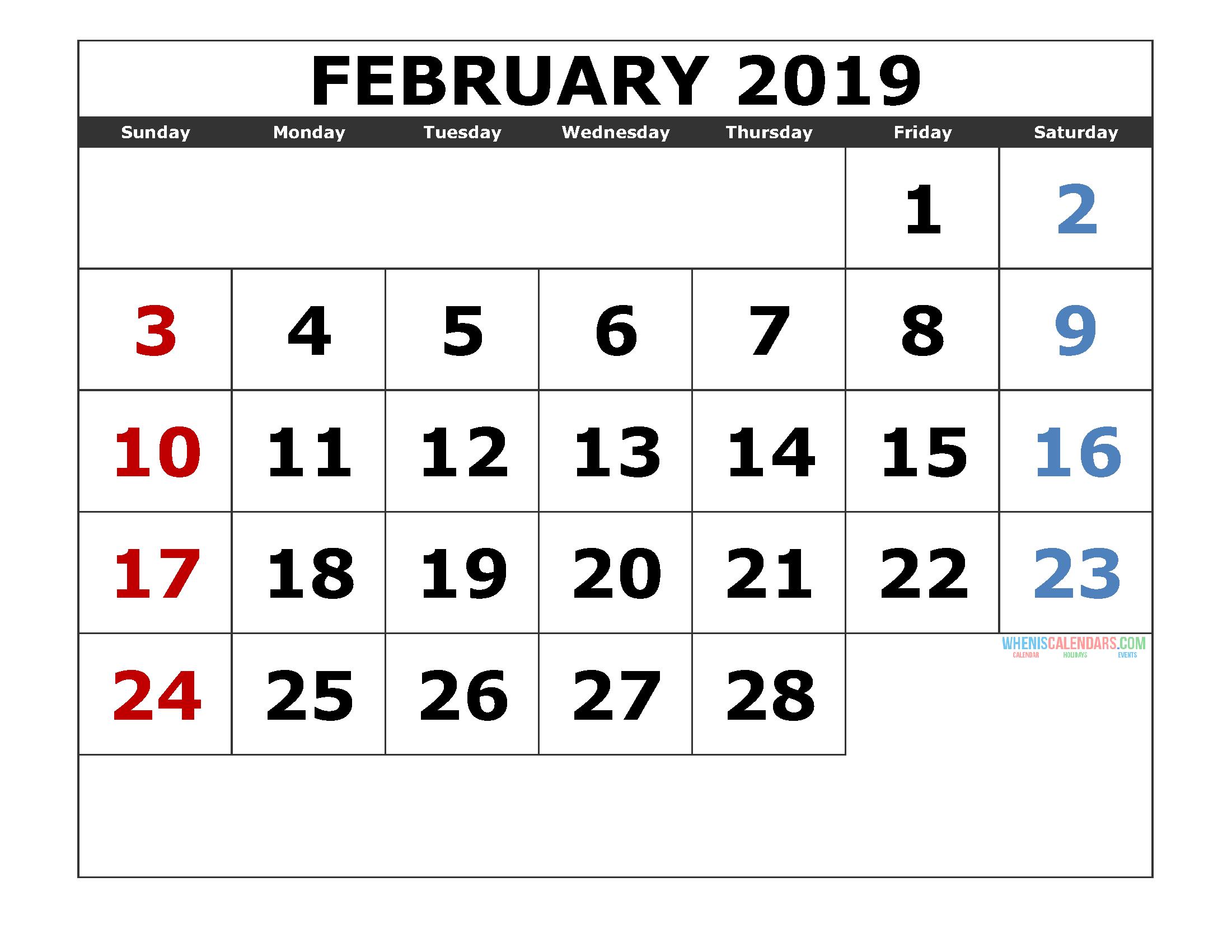 Wheniscalendars February 2019 February 2019 Printable Calendar Templates [ 2019 Monthly Calendar