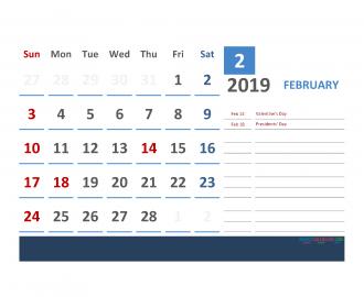 Printable Calendar February 2019 with Holidays 1 Month on 1 Page. 3 Month Calendar February 2019