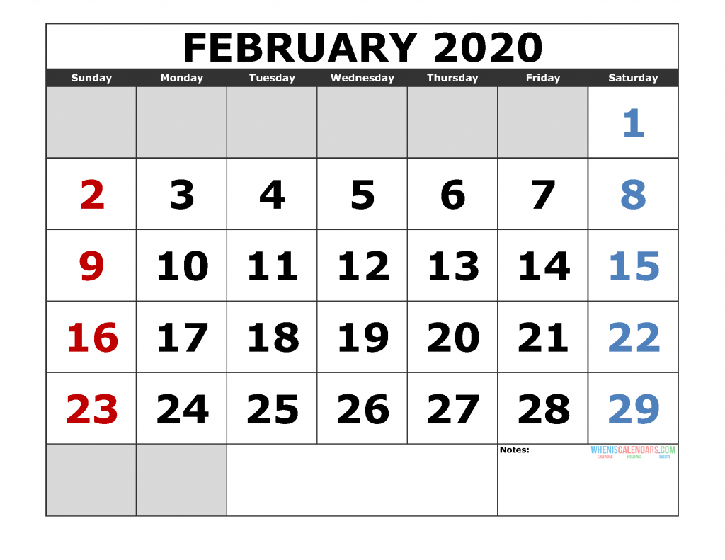 February 2020 Printable Calendar Templates 2020 Monthly Calendar