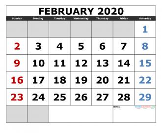 Wheniscalendars February 2020 February 2020 Printable Calendar Template Excel, PDF, Image [US