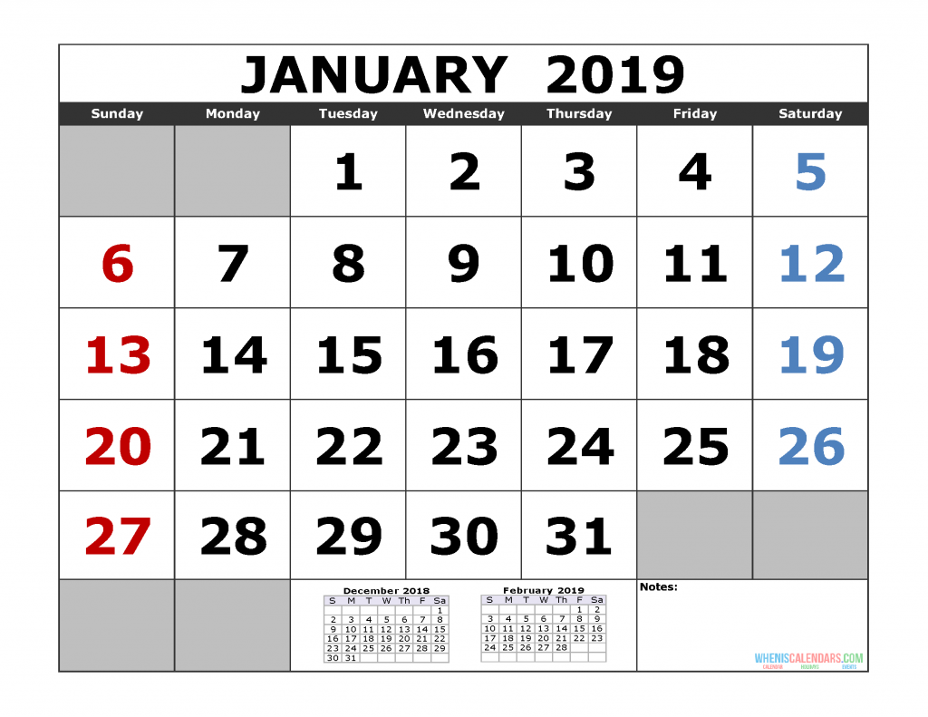 January 2019 Printable Calendar Template (December 2018 January February 2019 3 Month Calendar Template)