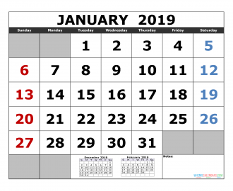 January 2019 Printable Calendar Template December 2018 January February 2019 3 Month Calendar Template