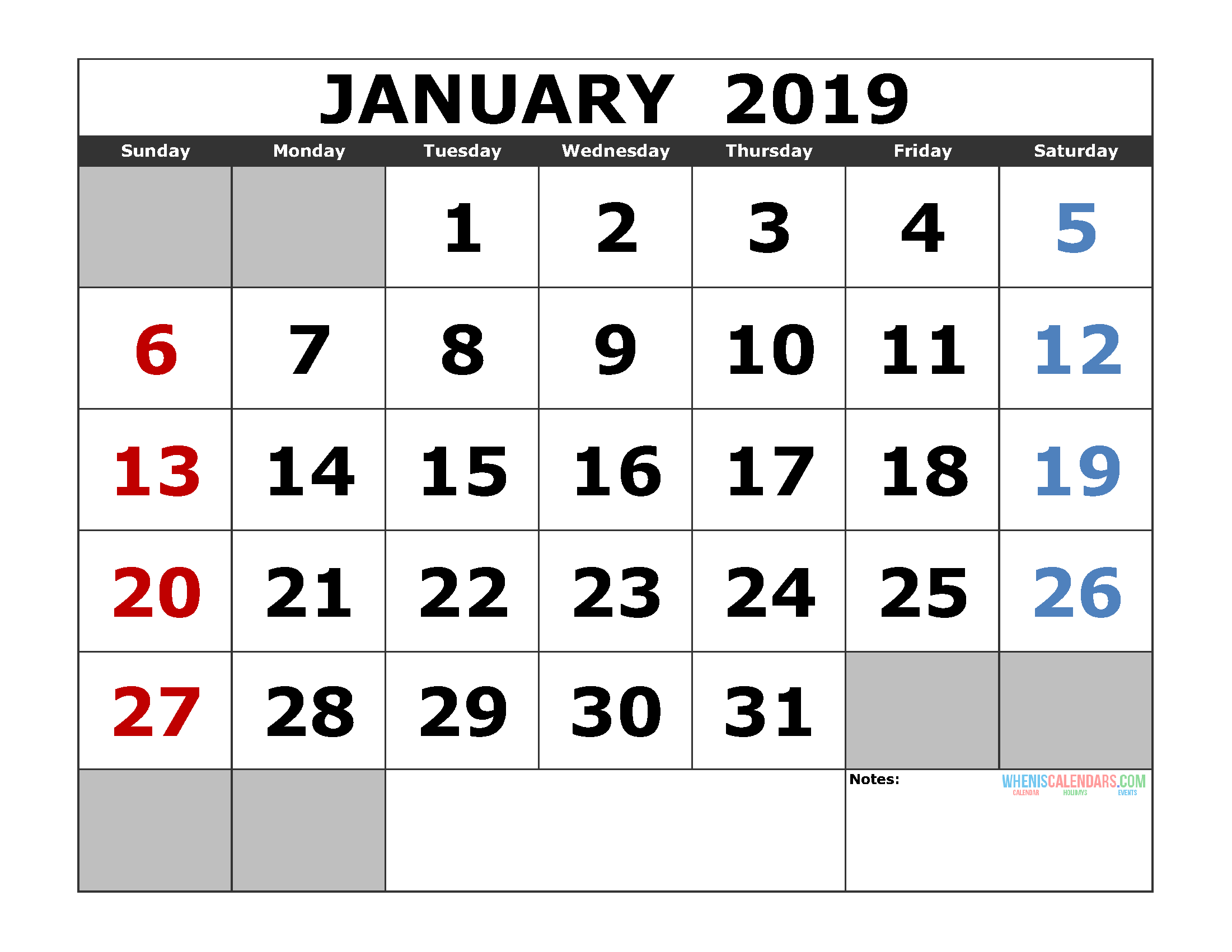 Free January 2019 Printable Calendar Template US. Edition (the first of the week as Sunday)