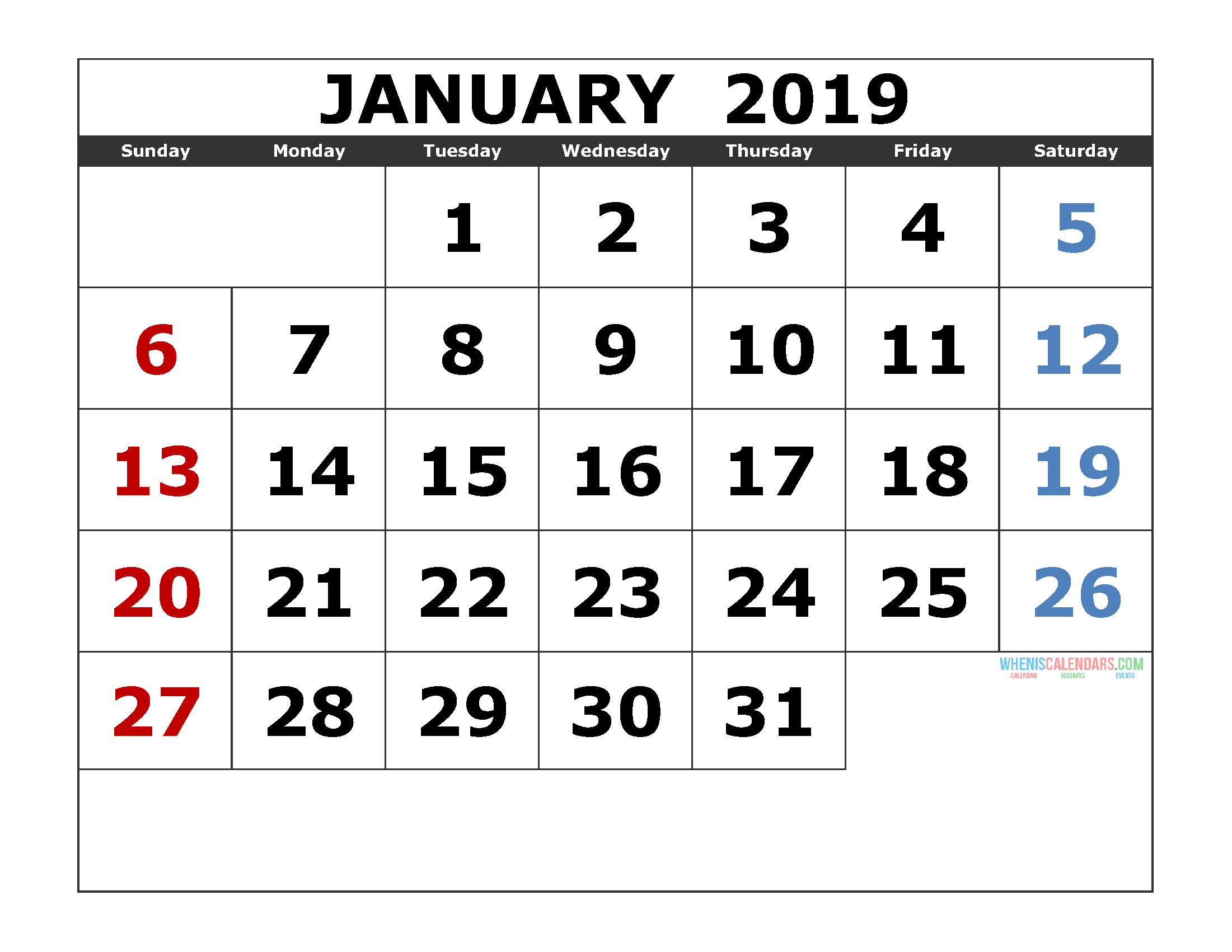 January 2019 Printable Calendar Template Excel, PDF, Image